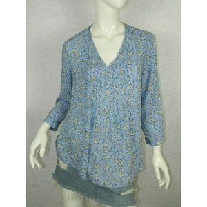 Fun 2 Fun Floral V-Neckline Hi-Low Hem Tunic Top M